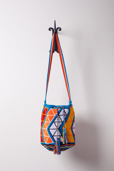 Large, Patterned Blue Orange and White, Bright Bag