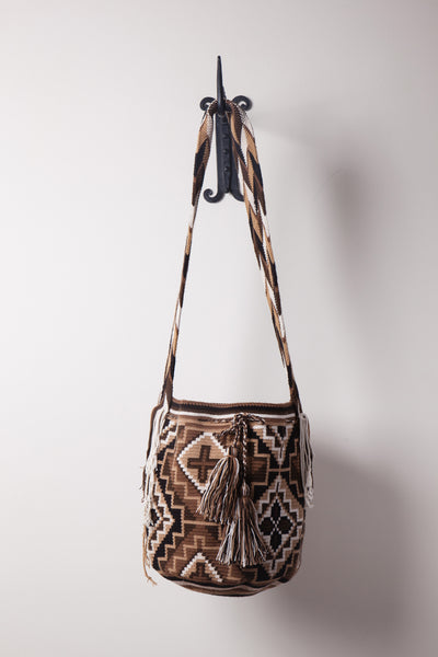 Brown and Tan Geometric Patterned Neutral Bag