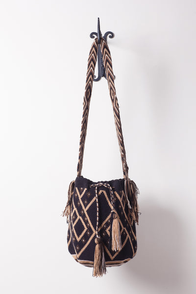 Dark Brown Diamond, Patterned, Neutral Bag