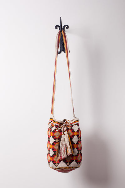 Light Tan and Orange Diamond Patterned Neutral Bag
