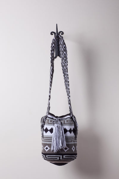 Grey and Black Strip Patterned Neutral Bag