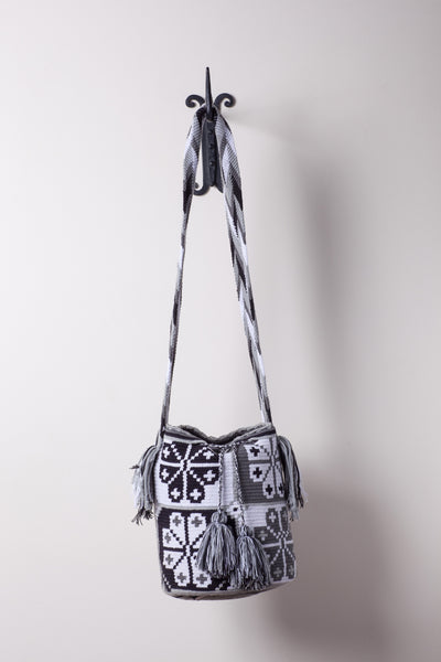 Black and White Flower Pattern Neutral Bag
