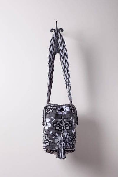 Grey with Black Flowers Pattern Neutral Bag