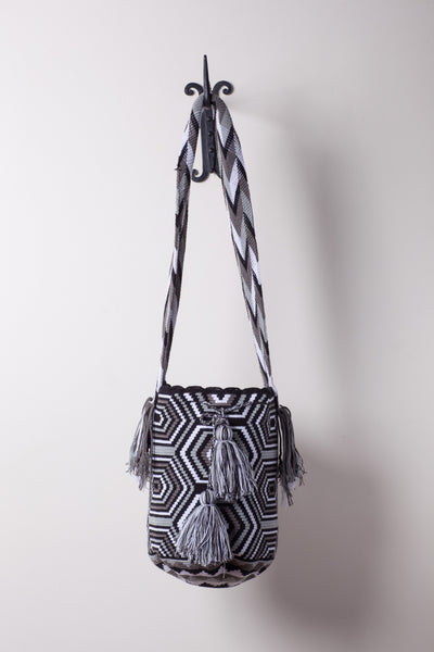 Black and Grey Hexagon Pattenered Neutral Bag