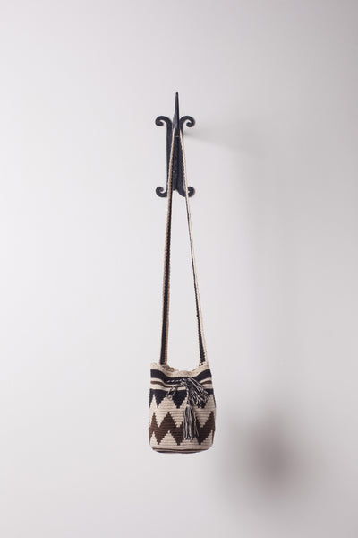 Small, Brown and Tan Zig Zag Patterned Neutral Bag
