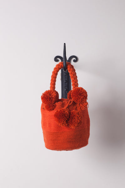 Small, Orange Solid-Colored Pom Pom, Neutral Bag