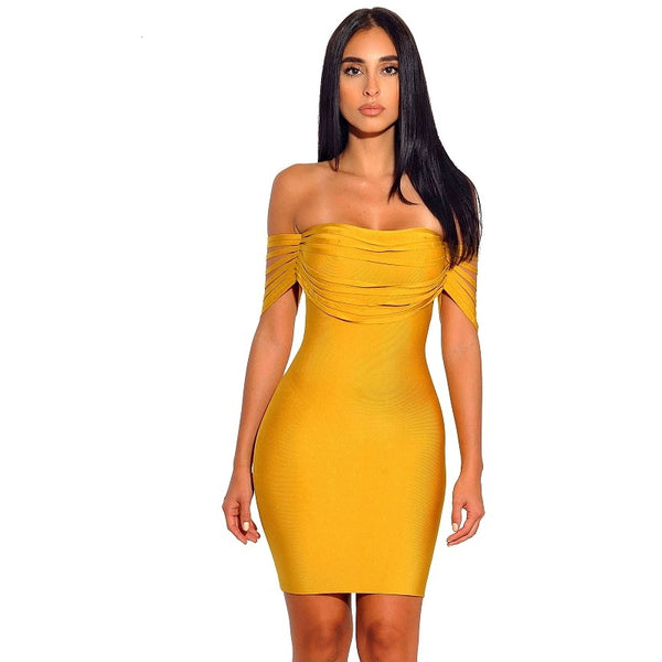 283c5b16223 Sexy Bandage Yellow Off the Shoulder Bodycon Dress