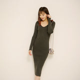 Women Dress Autumn Winter Long Sweater Dresses Black V-Neck Long Sleeve Knitted Dress Skinny Slashed Pencil Dress