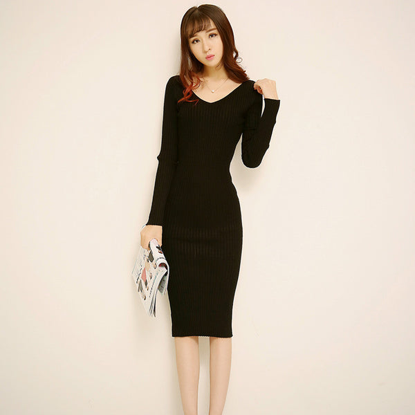 2ffac590667 Mamir s Express - Women Dress Autumn Winter Long Sweater Dresses Black  V-Neck Long Sleeve