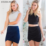 Lady High Waist Short Skirt  Sexy Bandage Bodycon Cross Fold  Pencil Skirts 5 Colors