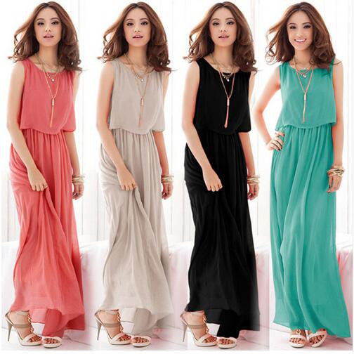 Mamir's Express - Boho Chiffon   Long Maxi Dress
