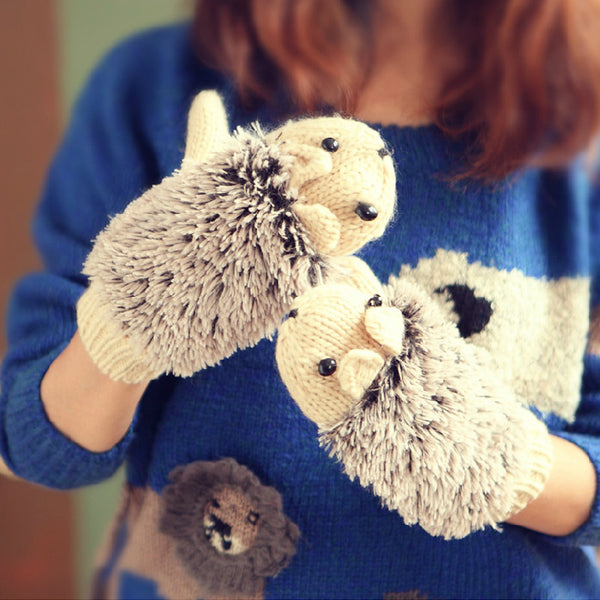 Cute Hedgehog Knitted Gloves