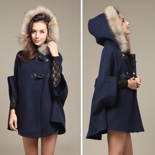Faux Fur Shawl Wool Hooded Poncho Batwing Half Sleeve Cape Coat Winter Jacket Cloak Poncho