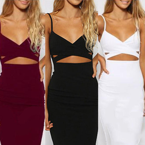 Mamir's Express - Ladies Sexy False 2 Piece Set Bodycon Bandage Dress