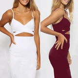 Ladies Women Sleeveless Sexy False 2 Piece Set Bandage Cut Out Bodycon Dress Women White Black Club Summer Dress