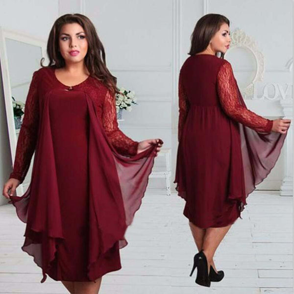 Mamir's Express - Long-sleeved Round Neck Plus Size Dress
