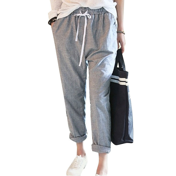 Casual Pants Female Elastic Waist Trousers Stripe Harem Pants Women Plus Size Capris