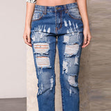 Mamir's Express - Ankle Length Denim Pants Mid Waist Sexy Ripped Jeans For Women