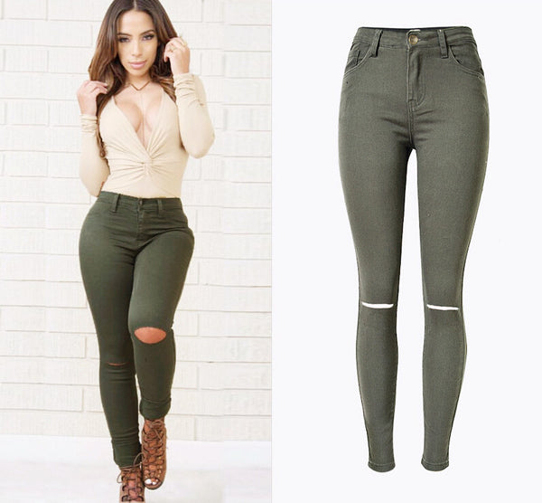 Women High Waist Stretch Jeans Femme Sexy Skinny Pencil Ladies Denim Ripped Knees Holes Pants Butt Push Up Elastic Jeans