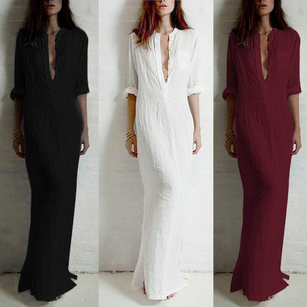 Women's Casual Long Sleeve Loose Maxi Dress