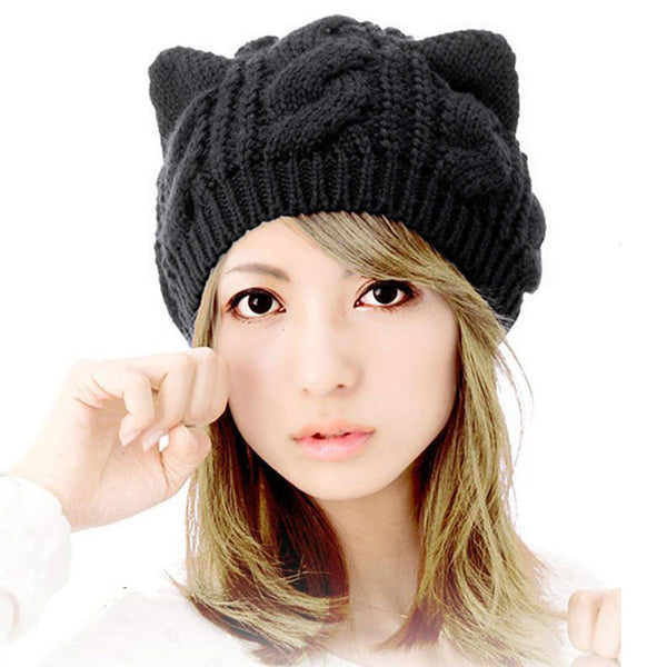 Mamir's Express - Cat Ears Hemp Flowers Knitted Warm Hat