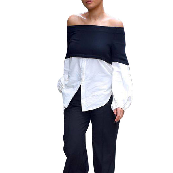 Women Cold Shoulder Sexy Blouse Long Sleeve Shirt Loose Shirts