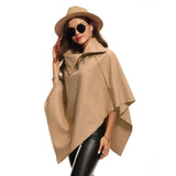 Womens Irregular Loose Bat Sleeves Turn-down Neck Poncho Cape Coat
