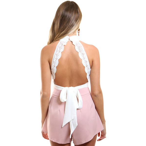 86bc186169aed Bandage Women Crop Top Backless Turtleneck Tank Top
