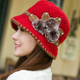 Mamir's Express - Ladies Winter Warm Caps Beautiful Wool Crochet Knitted Flowers Decorated Ears Hats Beanies