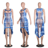 Mamir's Express - Digital Print Hollow Out Women Sexy Street Asymmetrical Mini Dress