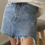 Mamir's Express - Jeans Skirt Women High Waist Irregular Edges Denim Skirts