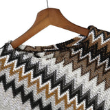 Mamir's Express - Knitted Striped Tassel Cape Cloak  Pullover Coats