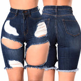 Ripped Out Denim Shorts Lace Up Skinny High Waist