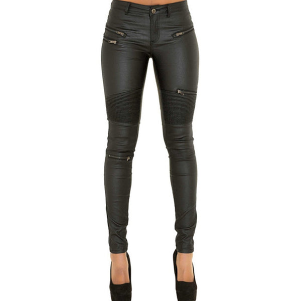 Mamir's Express - Leather patchwork punk rock pencil long pants