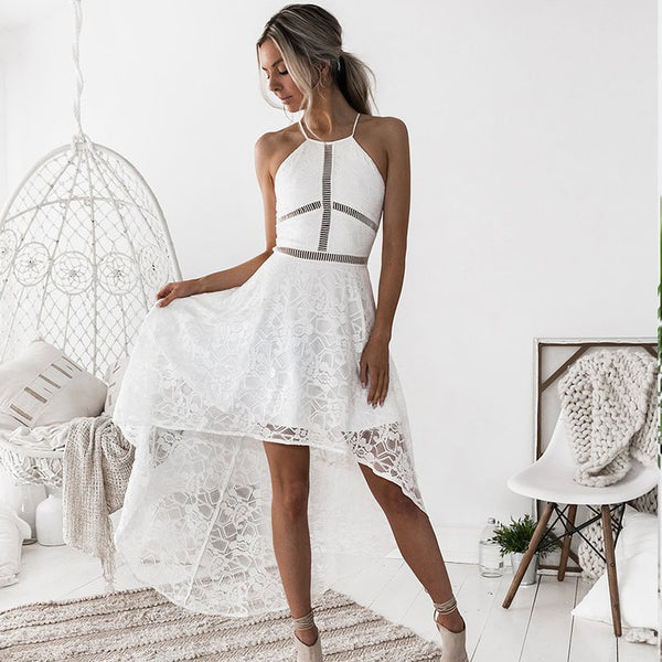 Hollow Out Elegant White Lace Dress