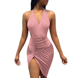 Halter V Neck Backless Sexy Ladies Slim Bodycon Elegant Mini  Dress