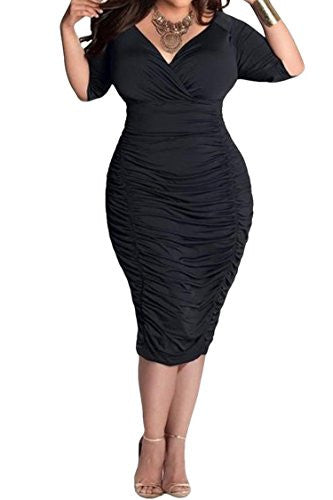 4fe2d7c666d ... Mamir s Express - Womens Plus Size Deep V Neck Wrap Ruched Waisted  Bodycon Dress ...