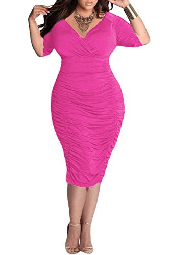 3800212c05d Mamir s Express - Womens Plus Size Deep V Neck Wrap Ruched Waisted Bodycon  Dress