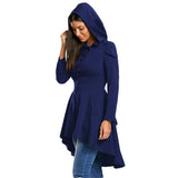 Mamir's Express - Autumn Women Layered Lace Up High Low Hooded Gothic Coat