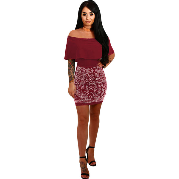 Sexy Studded Rhinestone Bodycon Mini Dress Club wear