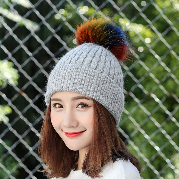 Autumn Winter Warm Caps Ladies Crochet Wool Knitted  Fur Hat