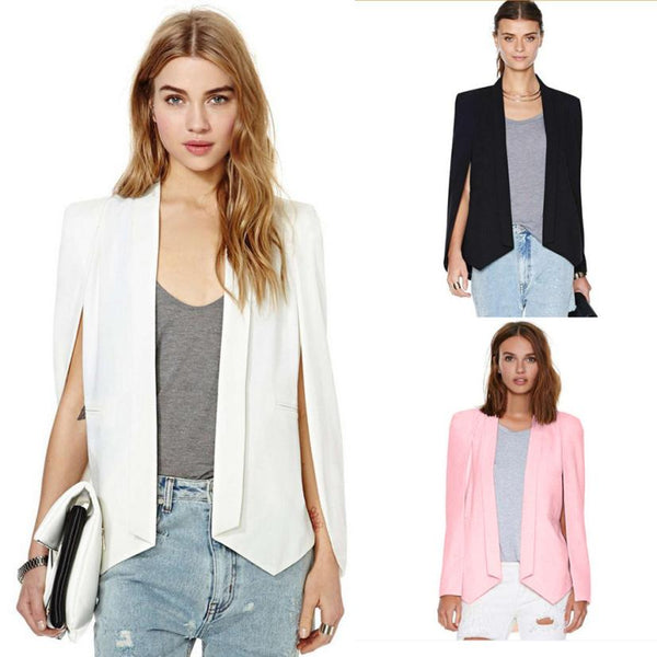 Split Long Sleeve Pockets Casual Blazer Cape Suit