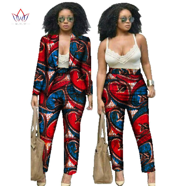 Mamir's Express - African Print Two Piece Set Dashiki Pants and Crop Top