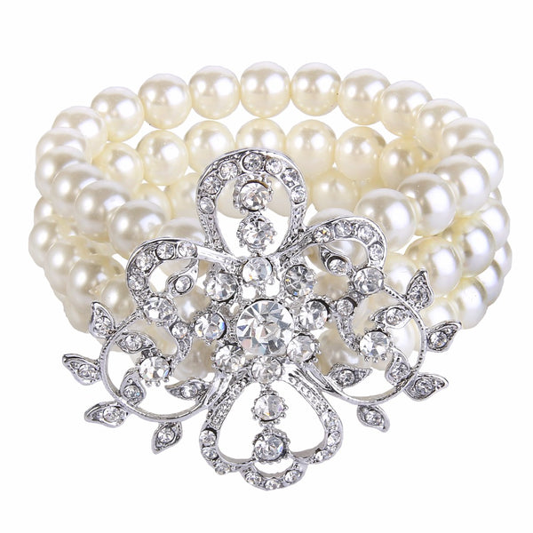 Mamir's Express - Crystal Simulated Pearl Bracelet For Women