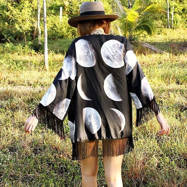 Kimono Cardigan For Female Cranes Printing Shirt