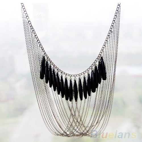Mamir's Express - Black Tassels Multi Layers Draped Luxury Pendant necklace