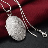 Silver Plated Carving Locket Pendant Chain Necklace