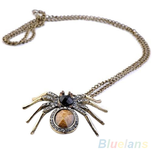 Vintage Crystal Spider Bead Necklace Dangle Charm Pendant Long Chain