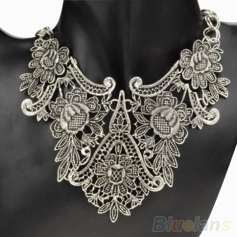 Silver Plated Flower Hollow Statement Bib Choker Chain Pendant Necklace