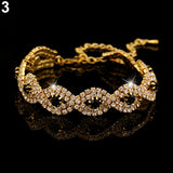 Rhinestone Golden Silver Cuff Women's Chain Bangle